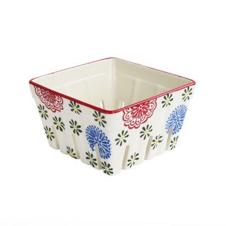 Ceramic Kitchen Red/Blue Square Berry Basket