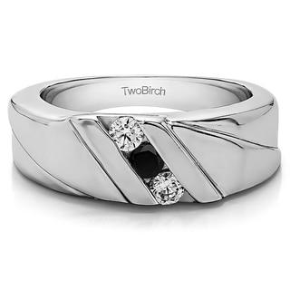 Sterling Silver Men's 1/3ct TDW Black and White Diamond Wedding Ring (G-H, I1-I2)