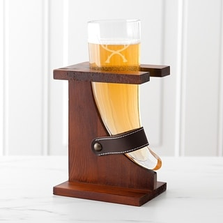 16-ounce Glass Antlers Viking Beer Horn with Rustic Stand