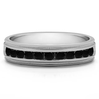 14k White Gold Men's 1/2ct TDW Channel-set Black Diamond Milgrain Ring