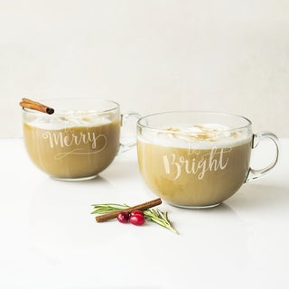 Merry and Bright Glass 22-ounce Large Coffee Mugs (Set of 2)