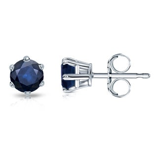 Auriya 14k Gold 1/2ct 6-Prong Push-Back Round-Cut Blue Sapphire Gemstone Stud Earrings