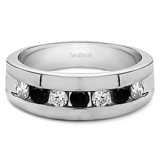 10k White Gold Men's 1/4ct TDW White and Black Diamond Open-ended Channel-set Ring (G-H, I1-I2)