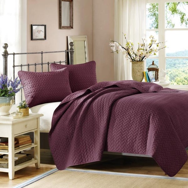 Hampton Hill Velvet Touch Mulberry Coverlet Set