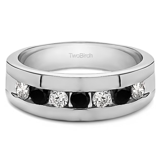 14k White Gold Men's 3/4ct TDW Black and White Channel-set Diamond Ring (G-H, I1-I2)