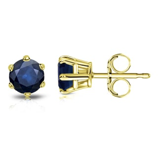 Auriya 14k Gold 3/4ct 6-Prong Push-Back Round-Cut Blue Sapphire Gemstone Stud Earrings
