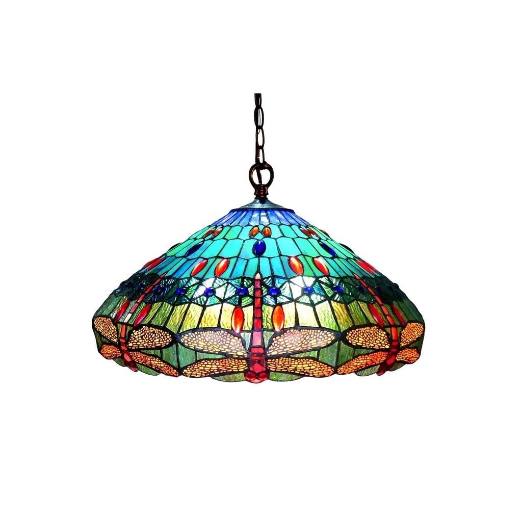 Chloe Tiffany Style Dragonfly Design 3-light Antique Bron...