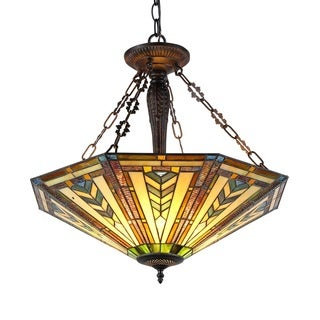 Chloe Tiffany Style Mission Design 3-light Antique Bronze Inverted Pendant