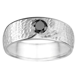 TwoBirch Sterling Silver 1/4ct TDW Black Diamond Hammered Ring