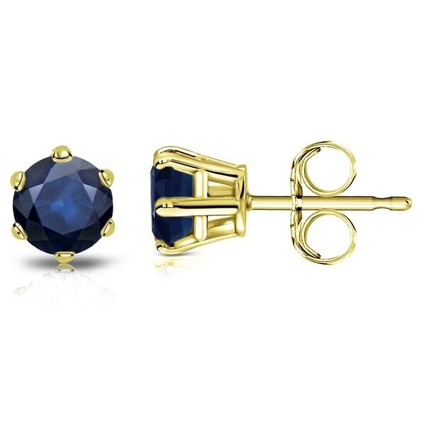 Solid 14K White Gold Round Genuine Blue Sapphire September Stud Earrings