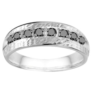 Sterling Silver Men's 1/2ct TDW Channel-set Black Diamond Open Band