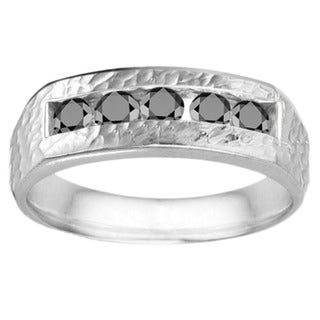 TwoBirch Sterling Silver Men's 3/4ct TDW Black Diamond Hammered Ring