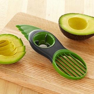 ETCBUYS 3-in-1 Nonslip Grip Plastic Blades Silicone Avocado Slicer