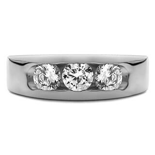 14k White Gold Men's 1/3ct TDW Diamond and Ruby 3-stone Channel-set Wedding Band (G-H, I2-I3)