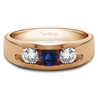 Sterling Silver Men's 1/3ct TDW Diamond and Blue Sapphire Wedding Band (G-H, I2-I3)