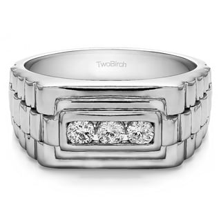 Sterling Silver Men's 1/3ct TDW Diamond 3-stone Unique Wedding Ring (G-H, I2-I3)