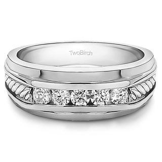 TwoBirch 10k White Gold Classic Mens Ring or Mens Wedding Ring with Designer Shank With Diamonds