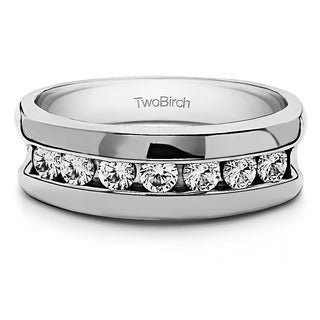 TwoBirch 10k White Gold Men's 1/2ct TDW Channel Set Diamond Ring