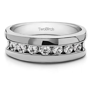 14k White Gold Channel Set Unique Men's Rings With Diamonds (G-H,SI2-I1) (0.49 Cts., G-H, SI2-I1)