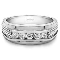 TwoBirch Sterling Silver Classic Men's 1/4ct TDW Designer Shank Wedding Ring