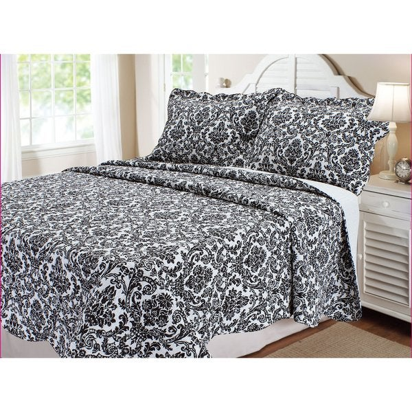 Black and White Damask 3-piece Quilt Set