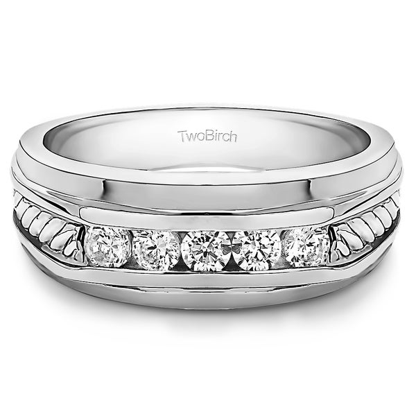 TwoBirch Sterling Silver Classic Mens Ring or Mens Wedding Ring with