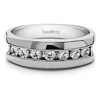 TwoBirch Sterling Silver Channel Set Unique Men's Rings With Diamonds (0.49 Cts., G-H, I