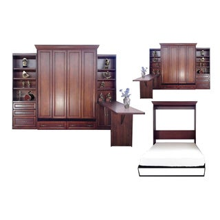 Queen Paris Murphy Bed with Door and Drawer Bookcases and Desk in Cherry Finish