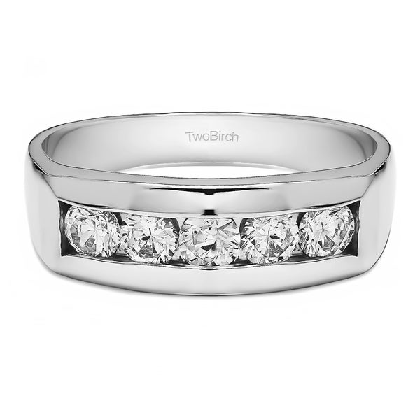 TwoBirch Sterling Silver Channel Set Men Wedding Ring or Unique Mens Fashion Ring With White Sapphire (0.75 C