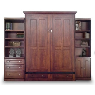 Queen Devon Murphy Bed with Door and Drawer Bookcases in Chesnut Finish