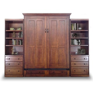 Queen Devon Murphy Bed with Drawer Bookcases in Chesnut Finish