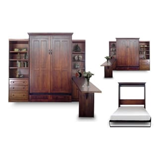 Queen Devon Murphy Bed with Door and Drawer Bookcases and Desk in Chesnut Finish