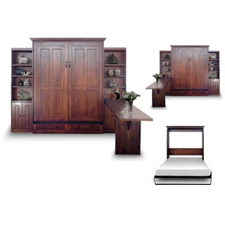 Queen Devon Murphy Bed with Two Door Bookcases and Desk in Chesnut Finish