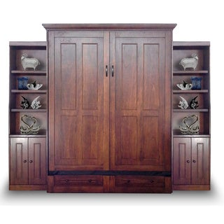 Queen Devon Murphy Bed with Two Door Bookcases in Chesnut Finish