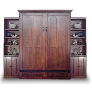 Queen Devon Murphy Bed with Two Door Bookcases in Chesnut Finish