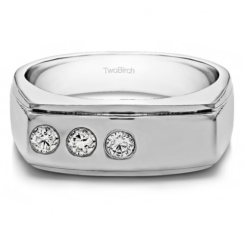 TwoBirch Sterling Silver Men's 2/5ct TGW White Sapphire Ring