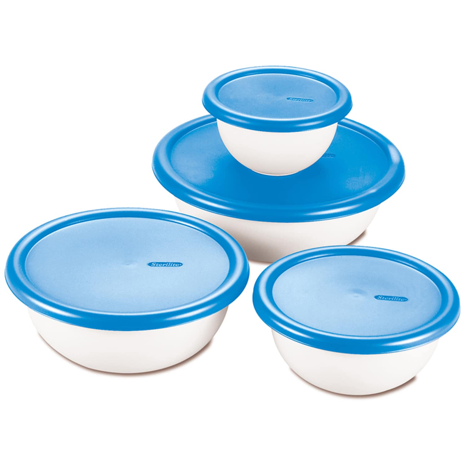 Sterilite 07479406 8 Piece White & Blue Covered Bowl Set ...