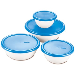 Sterilite 07479406 8 Piece White & Blue Covered Bowl Set
