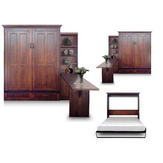 Queen Devon Chestnut Finish Murphy Bed with Door Bookcase and Desk