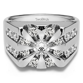 14k White Gold Men's 3ct TDW Diamond Round Channel-set Suburst Ring (G-H, I2-I3)
