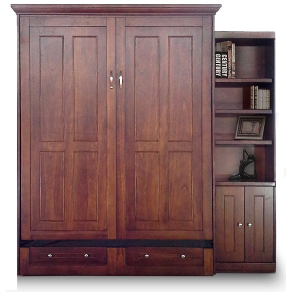 Queen Devon Murphy Bed with Door Bookcase in Chesnut Finish