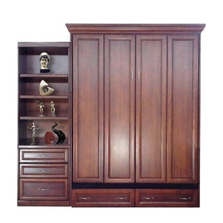 Queen Paris Murphy Bed with Drawer Bookcase in Cherry Finish