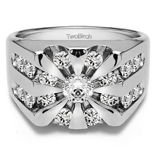TwoBirch 14k White Gold Round Channel Set Sun Burst Style Men's Ring With White Sapphire (2.98 Cts., colorles