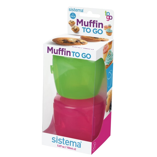 Sistema 21126 Muffin & Cupcake To-Go Assorted Colors 2-count