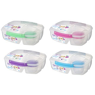Sistema 20920 2 Liter Clear Triple Split Lunch Box With Yogurt Cup