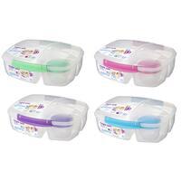 Sistema 20920 2 Liter Clear Triple Split Lunch Box With Yogurt Cup