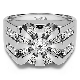 TwoBirch Sterling Silver Round Channel Set Sun Burst Style Men's Ring With Diamonds (2.9