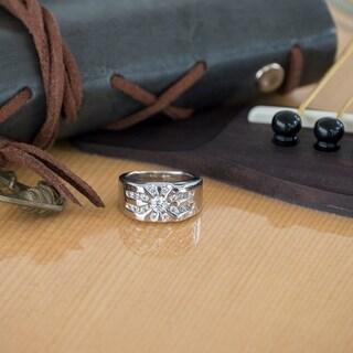 TwoBirch Sterling Silver Men's 1/2ct TDW Diamond Channel-set Sun Burst Ring