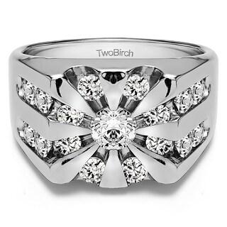 TwoBirch Sterling Silver Men's 3ct TGW White Sapphire Round Sunburst Ring