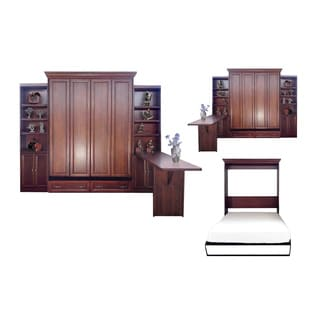 Queen Paris Murphy Bed with Two Door Bookcases and Desk in Cherry Finish